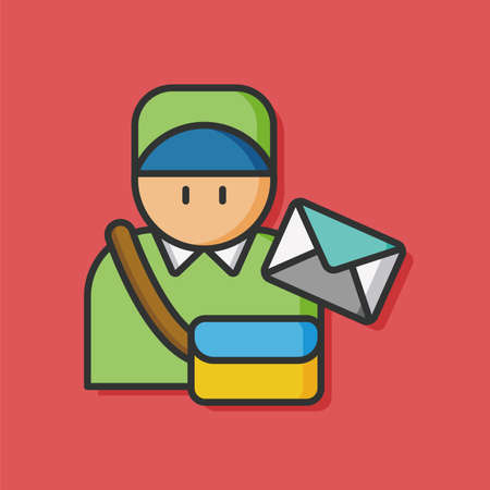 mail man: occupation character mail man icon Illustration