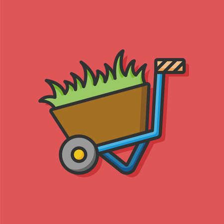 cows red barn: farm grass trolley icon Illustration