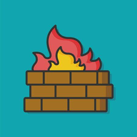 firewall Internet Protection icon Illustration