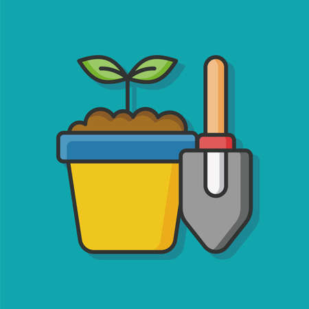 potted: Potted plants vector icon