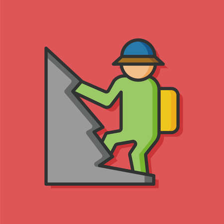 hiking: hiking people vector icon