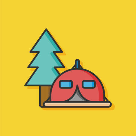 weekend activities: camp tent vector icon
