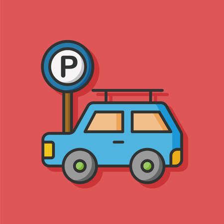 parking car: parking car sign vector icon
