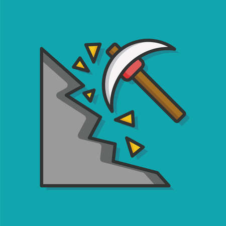 construction tools: industry Hoe vector icon