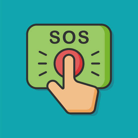 SOS emergency button vector icon Illustration