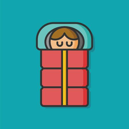 sleeping bags: sleeping bag vector icon Illustration