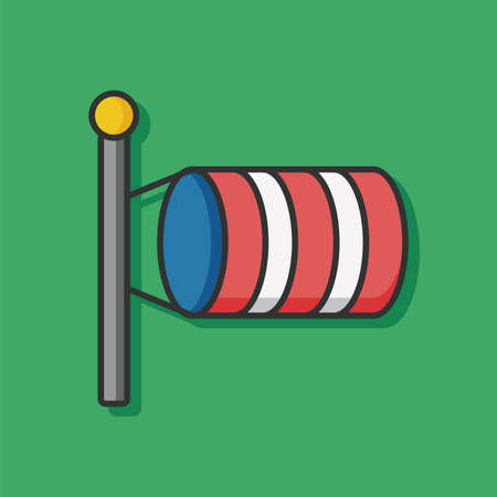 windsock: Measuring wind speed flag vector icon