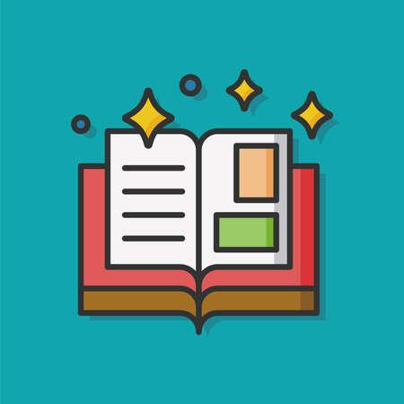 background cover: magic book vector icon