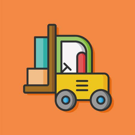 yellow tractors: construction truck vector icon Illustration