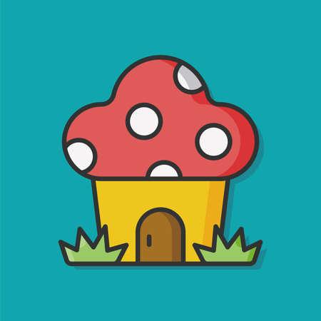 mushroom house: mushroom house vector icon