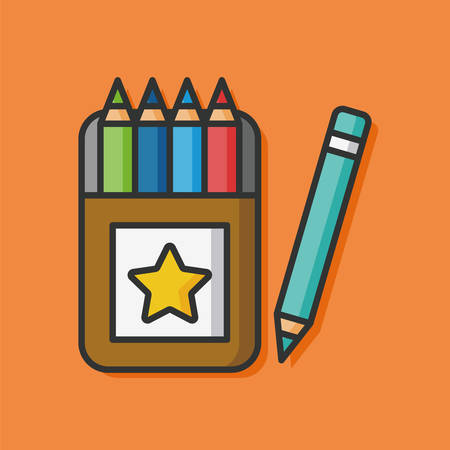 writing instruments: color pencil vector icon