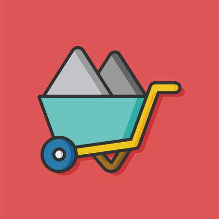 gravel: Gravel carts vector icon Illustration