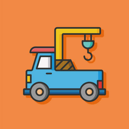 yellow tractors: construction truck vector icon Illustration