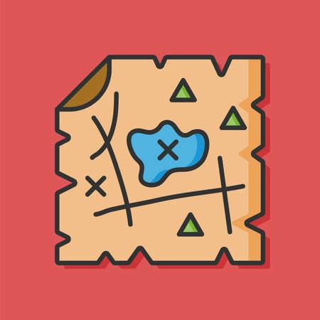 hunt: treasure map vector icon Illustration