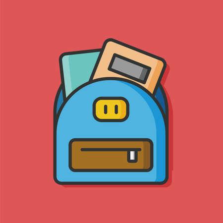 student travel: school bag vector icon Illustration