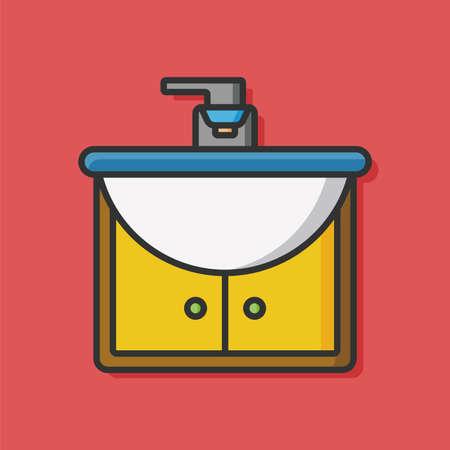 wash basin: toilet Sink vector icon Illustration