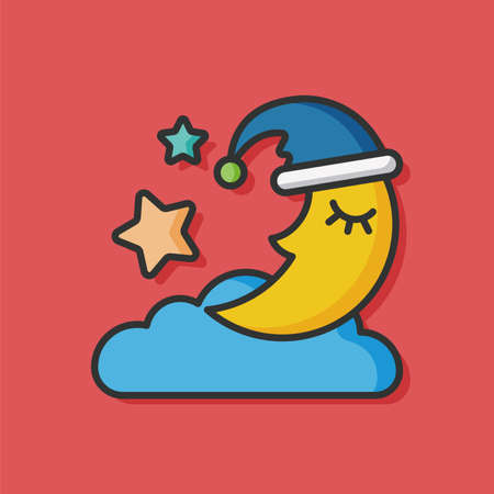 night sky: sleep moon vector icon Illustration