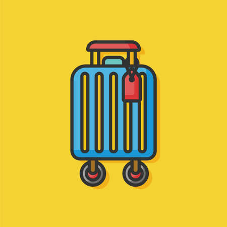 trolley case: suitcase trolley vector icon Illustration
