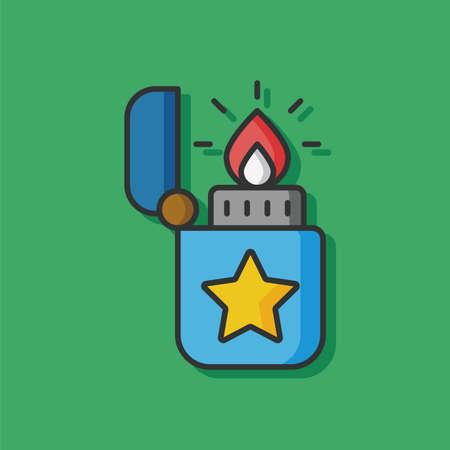 butane: lighter fire vector icon