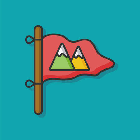 camp flag vector icon Illustration