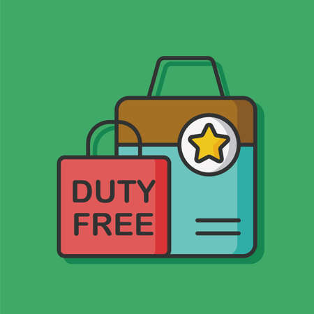 duty: duty free bag vector icon