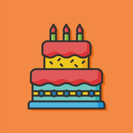 tortas de cumpleaños: cumpleaños del icono del vector de la torta