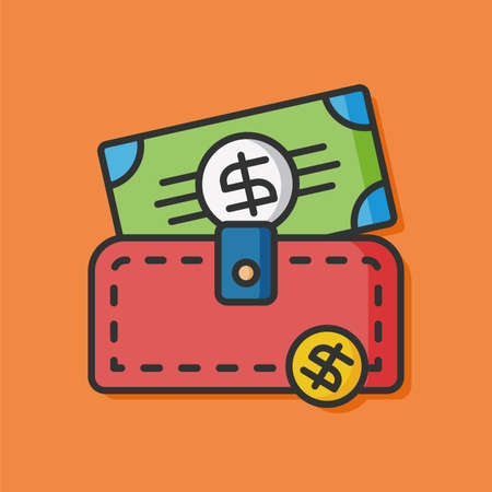 money wallet: money wallet vector icon Illustration