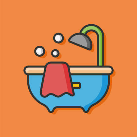 showering: showering Bathtub vector icon