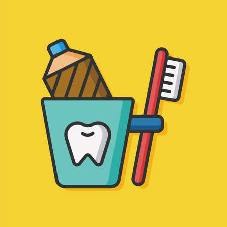 tooth brush and toothpaste icon