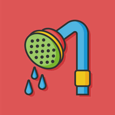 showering: sanitary Showerheads showering vector icon Illustration