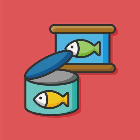 mackerel: fish food can vector icon Illustration