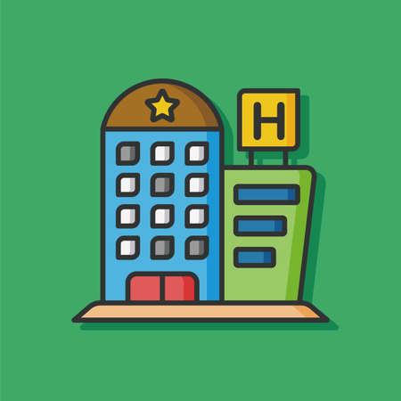 hotel building: hotel building vector icon Illustration