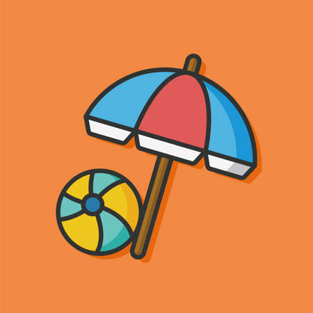 resort: resort umbrella and ball icon Illustration