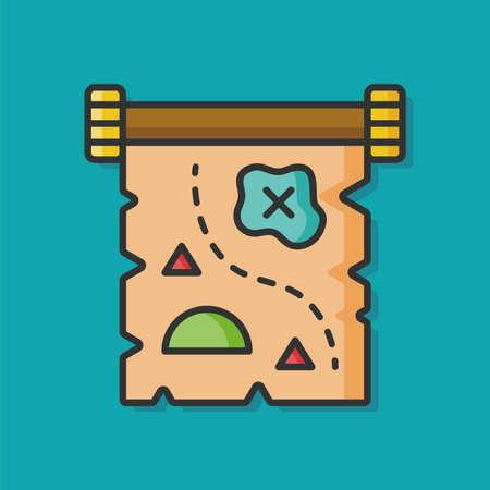 treasure map vector icon Illustration