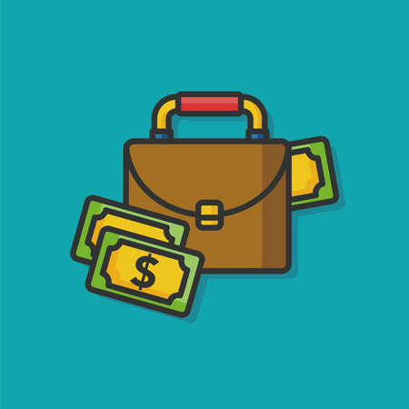 personal banking: money case bag vector icon