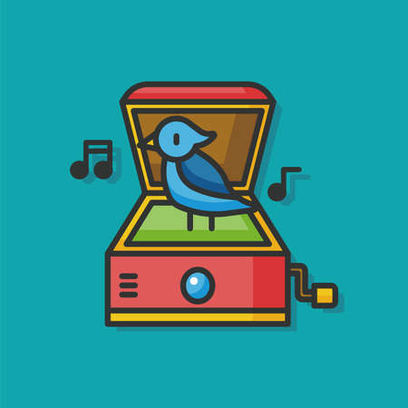 black baby boy: music box toy vector icon