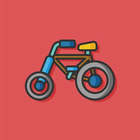black baby boy: toy bike vector icon Illustration