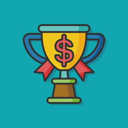 chequebook: money trophy vector icon Illustration