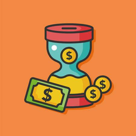 chequebook: money hourglass vector icon