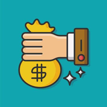 chequera: icono de vector de dinero financiero Vectores