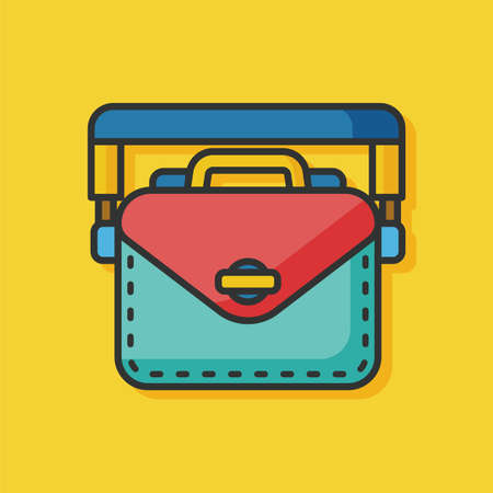 student travel: office briefcase vector icon Illustration