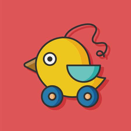 black baby boy: toy bird vector icon