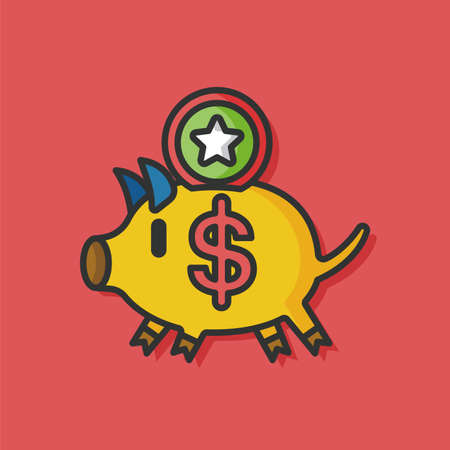 chequebook: piggybank money vector icon Illustration