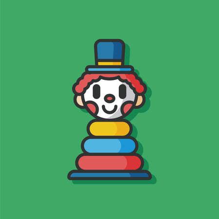 black baby boy: toy clown vector icon