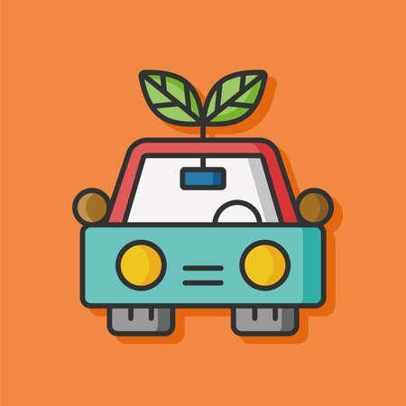 protection icon: Environmental protection concept green car icon Illustration