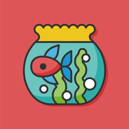 gold fish bowl: fish bowl vector icon