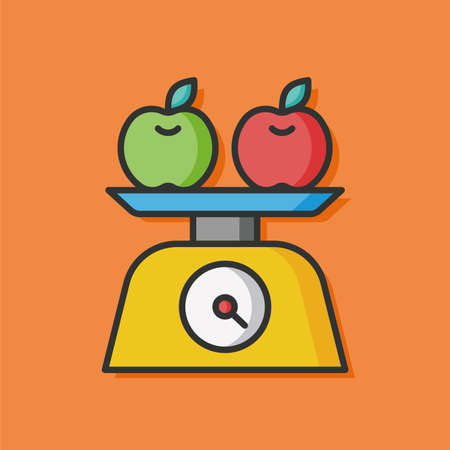 counterbalance: Weighing machine vector icon