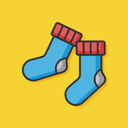 cute baby girls: wearing socks vector icon