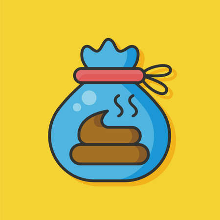 urine: cat poo bag vector icon