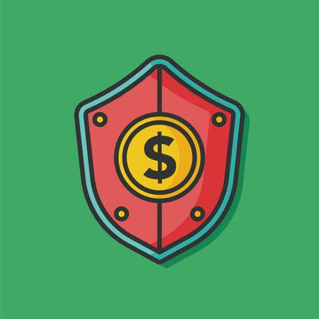 chequera: escudo icono del dinero del vector